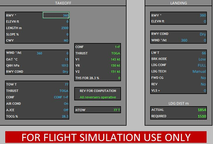 A319/A320 Takeoff and Landing Performance Calculator - Utilities