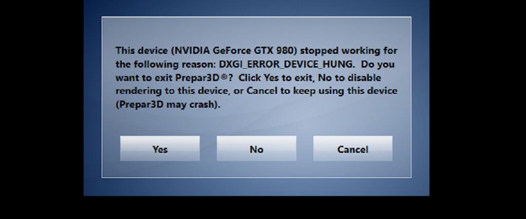 Problem with Prepar3d 3 4 with error NVIDIA GTX 980 - FSL Spotlights